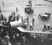 USN Navy Jeep on the deck of an aircraft carrier. Scene of a Corsair Crash 1945.