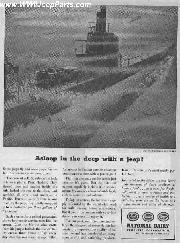 WWII Navy Jeep on Deck of submerged Submarine (vintage advertisement)