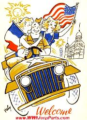 Early Willys Slat Grill MB Jeep Postcard with French & US Flags.
