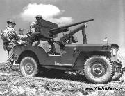 Willys Slatgrill MB with a 37mm cannon and a M-1917 30cal Heavy Barrel Water Cooled Machine Gun.