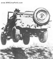 A Willys Slatgrill MB jeep in mid air.