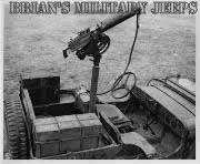 Early Willys Slatgrill MB Jeep with a M-1917 30cal Heavy Barrel Water Cooled Machine Gun on a pedestal mount.