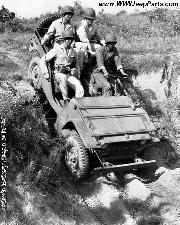 1941 Ford GP prototype 1/4 ton 4X4 Light Reconnaissance Car with four West Point cadets wearing the brand new M-1 helmets at Ft. Benning, GA, summer of 1941.