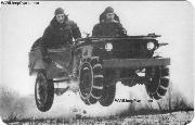 Jumping a 1941 Ford GP prototype 1/4 ton 4X4 Light Reconnaissance Car in winter testing at Fort Riley, KS. As reported in Field Artillery Magazine, June 1941 edition, the testing was to determine if the 1/4ton Jeeps could be used as liaison cars for artillery with cavalry; as prime movers for the 37-mm. antitank gun, and as mounts for the Browning M2HB .50 caliber machine gun.