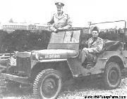 The 1941 Willys MA Jeep of Captain Stratton Hammon standing, with Lt. Austin Griffith behind the wheel. Capt. Hammon was Base Commander and Engineer at the time of construction of Atterbury Field, Columbus Air Support Base, Columbus, Indiana, October 1942.