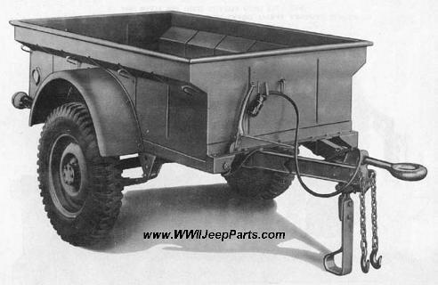 TRAILER, 1/4-TON PAYLOAD, 2-WHEEL, CARGO, 1942-43, AMERICAN BANTAM T-3 AND WILLYS MBT THREE QUARTER RIGHT REAR VIEW