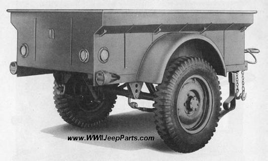TRAILER, 1/4-TON PAYLOAD, 2-WHEEL, CARGO, 1942-43, AMERICAN BANTAM T-3 AND WILLYS MBT THREE QUARTER RIGHT FRONT VIEW