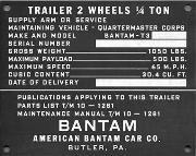 Early QMC (Quartermaster Corps) Bantam Jeep Trailer Data Plate