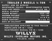 Early QMC (Quartermaster Corps) Willys Jeep Trailer Data Plate