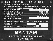 Late ORD (Ordnance Department) Bantam Jeep Trailer Data Plate