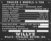 Late ORD (Ordnance Department) Willys Jeep Trailer Data Plate